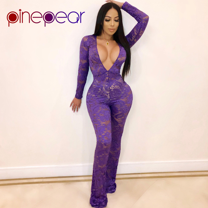 PinePear Purple Lace Sexy Deep V Neck Jumpsuit Women 2019 NEW Winter Long Sleeve See Through Wide Leg Pants Romper Drop Shipping