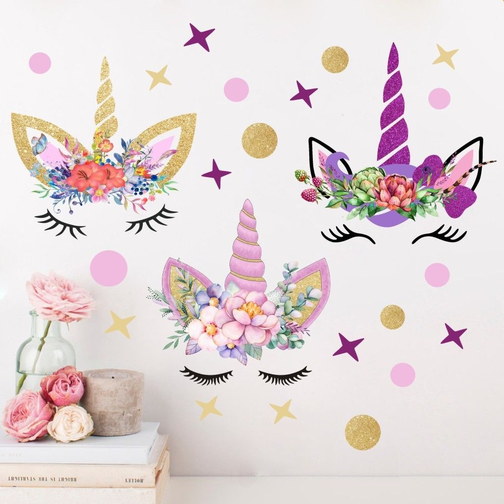2019 Hot 3Pcs Fairy Unicorn Wall Stickers Stars Dots Cartoon Print Girls Kids Room Bedroom Home Decor Decal Sticker Mura
