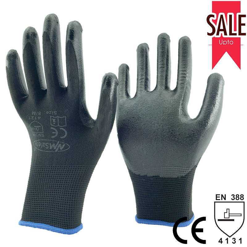 NMSafety 13 gauge nylon dipping nitrile work gloves/Rubber safety glove/Knitted protective gloves