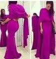 Fuschia простой русалка вечернее платье накидка сексуальная дешевые платье знаменитости формальное вечернее платье