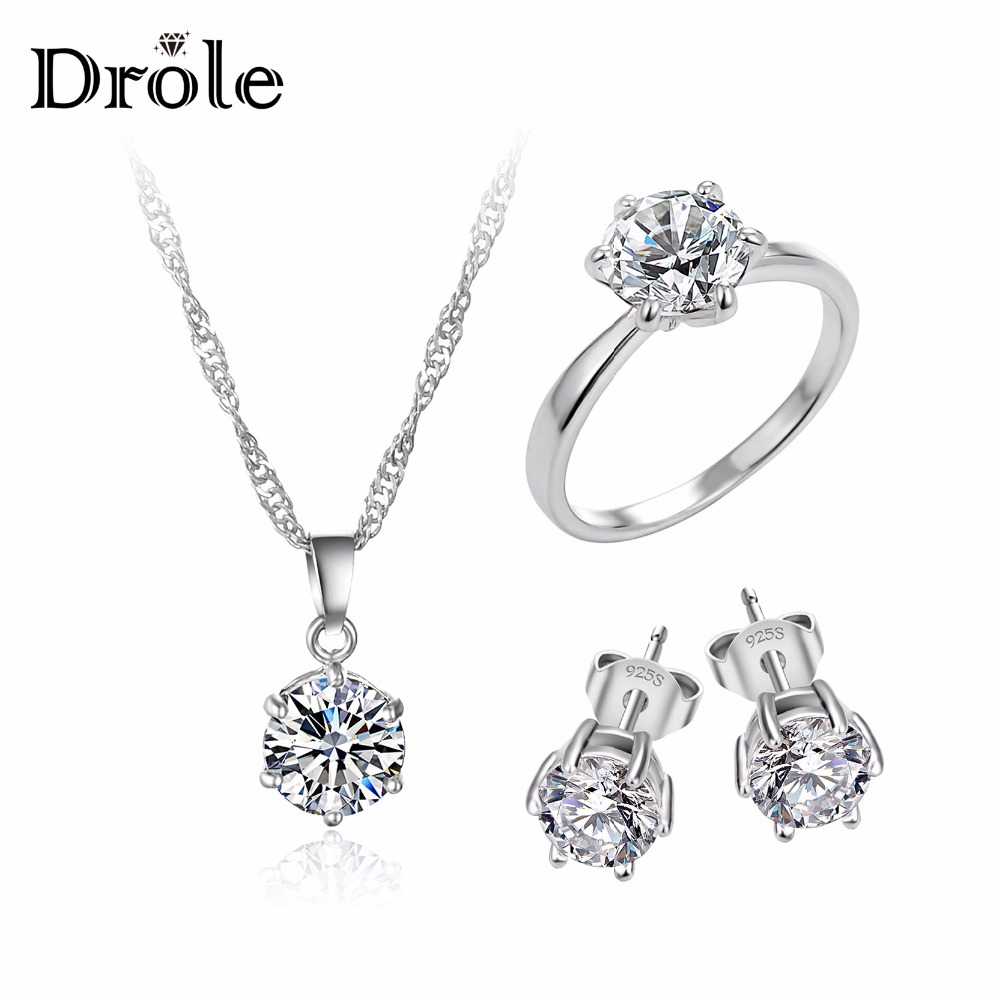 Hot Sale Perak CZ Zircon Pernyataan Choker Kalung Engagement Ring Stud Earrings Fashion Jewelry Set untuk Wanita