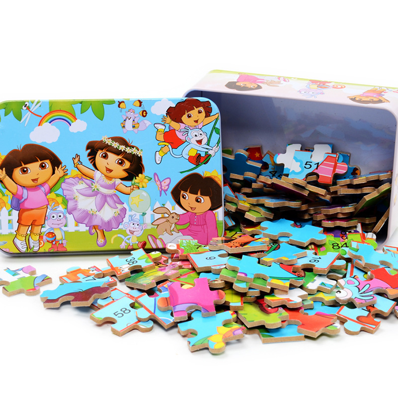 100 Pieces Of Wooden Box Cartoon Jigsaw Puzzle Children S Educational Toys