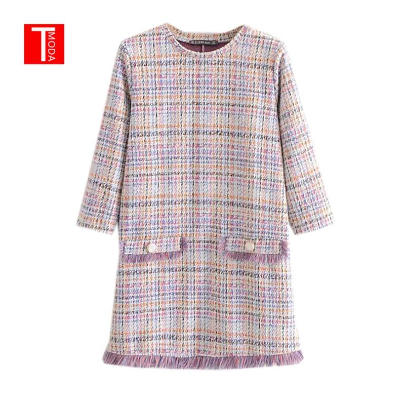 Feminino elegante tweed xadrez mini vestido borlas três quater manga o pescoço feminino casual moda chique vestidos