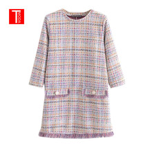 Women Elegant Tweed Plaid Mini Dress Tassels Three Quater Sleeve O Neck Female C