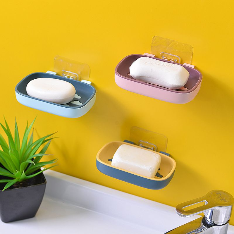 Self Adhesive Soap Dish Drain Sponge Box Holder Organizer Bathroom Wall Mounted Kitchen Rack Suspension Shelf No Drilling