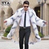 2018 Для мужчин зимние белые Мех животных пальто с длинным рукавом из искусственной шерсти Мех животных верхняя одежда повседневные пальто п