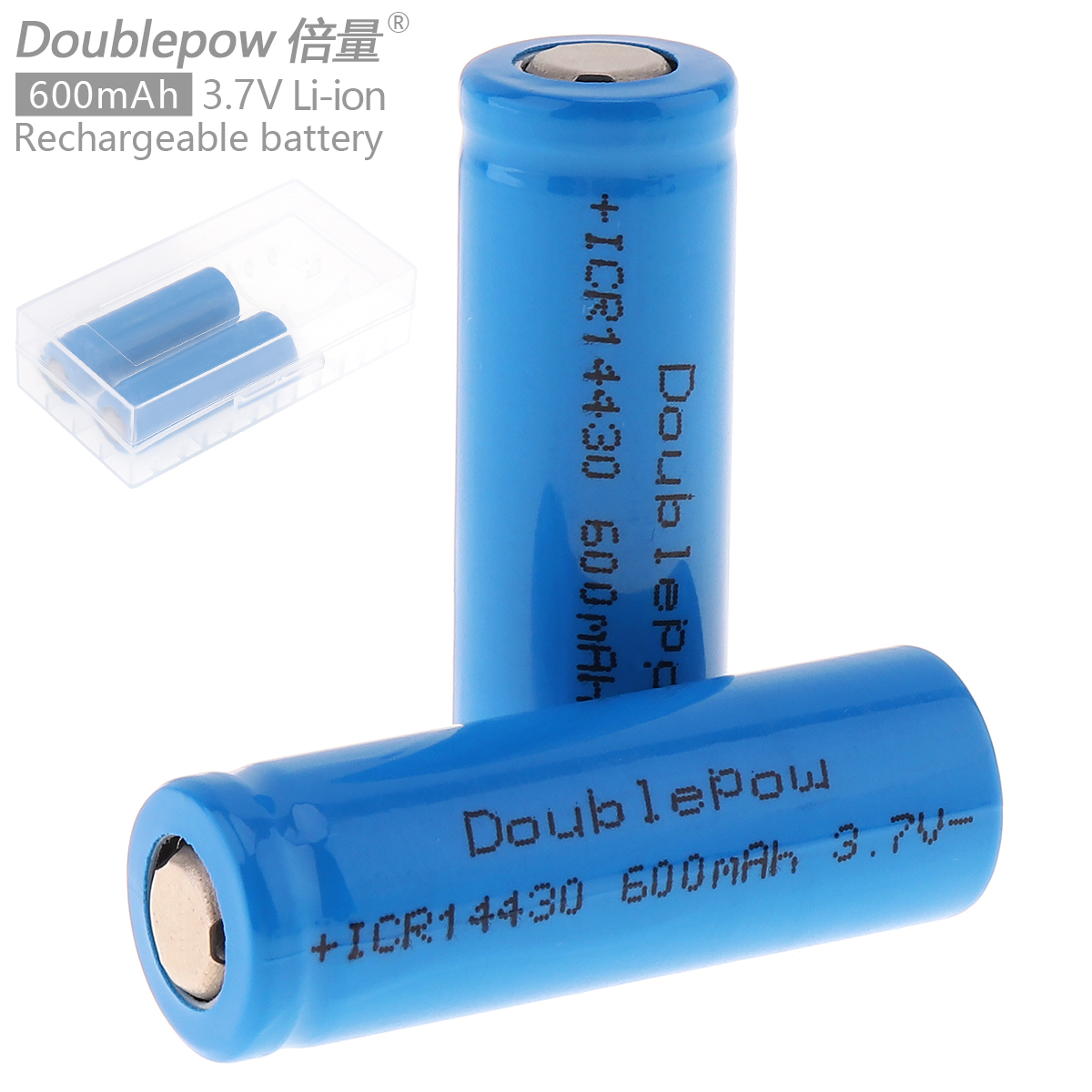 Doublepow 2pcs 14430 <font><b>600mAh</b></font> 3.7V Li-ion Rechargeable <font><b>Battery</b></font> Bateria Baterias with Safety Relief Valve + Portable <font><b>Battery</b></font> Box