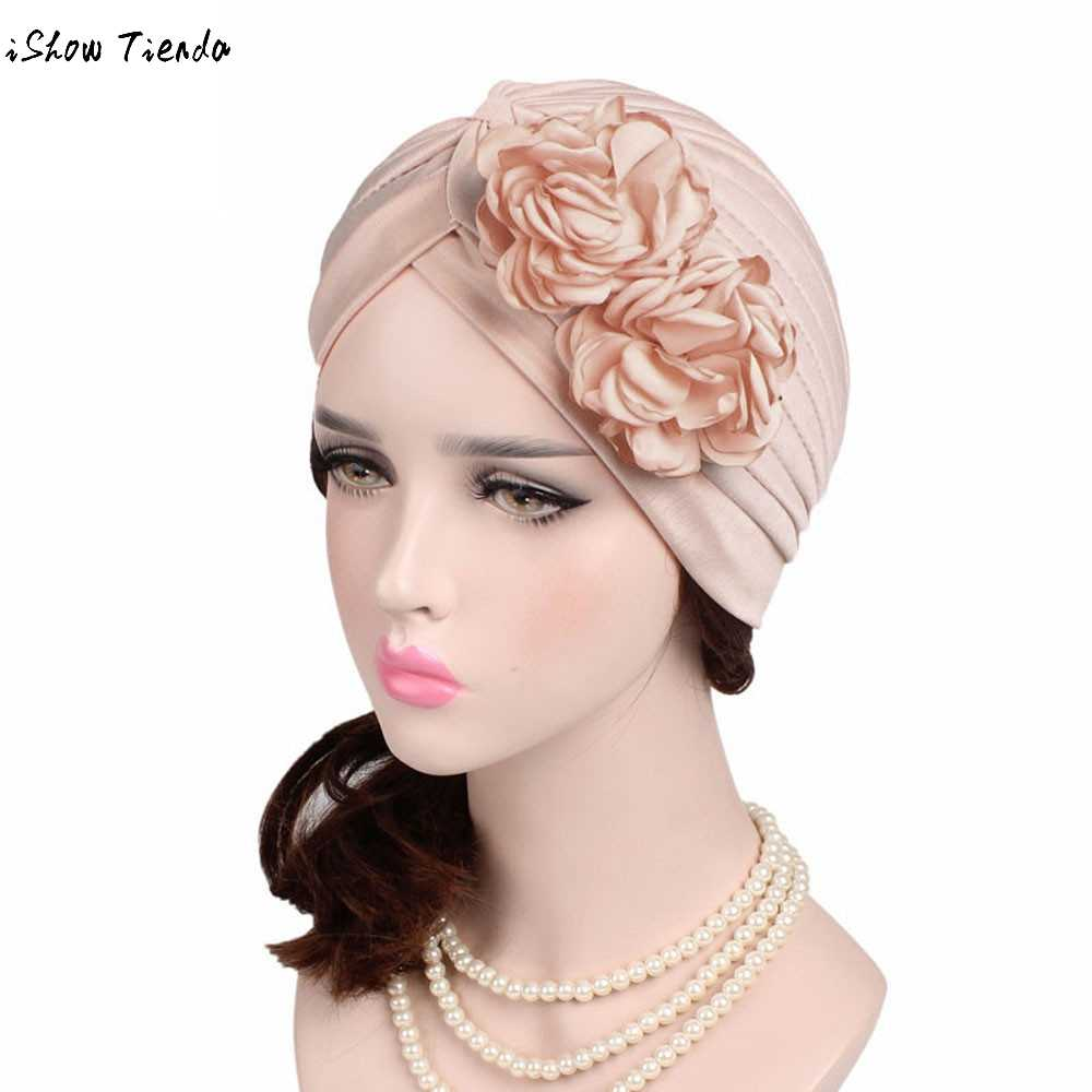 a5a2e65ddea Women Large Flower Model Headscarf Solid Chemotherapy Cap Casual Western  Style Ruffle Cancer Chemo Hat Beanie