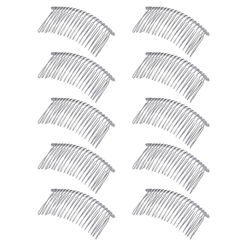 10pcs Metal Hair Clip Combs Iron Wire Hair Clasp Twist Veil Combs Inserted Combs For Women Girls (20K White)