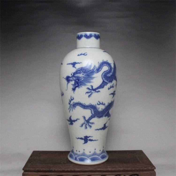 9 Антикварный, Династия Цин фарфоровая ваза, синий и белый бутылка Дракон 6, ручная роспись ремесла, коллекция украшения, бесплатная доставка