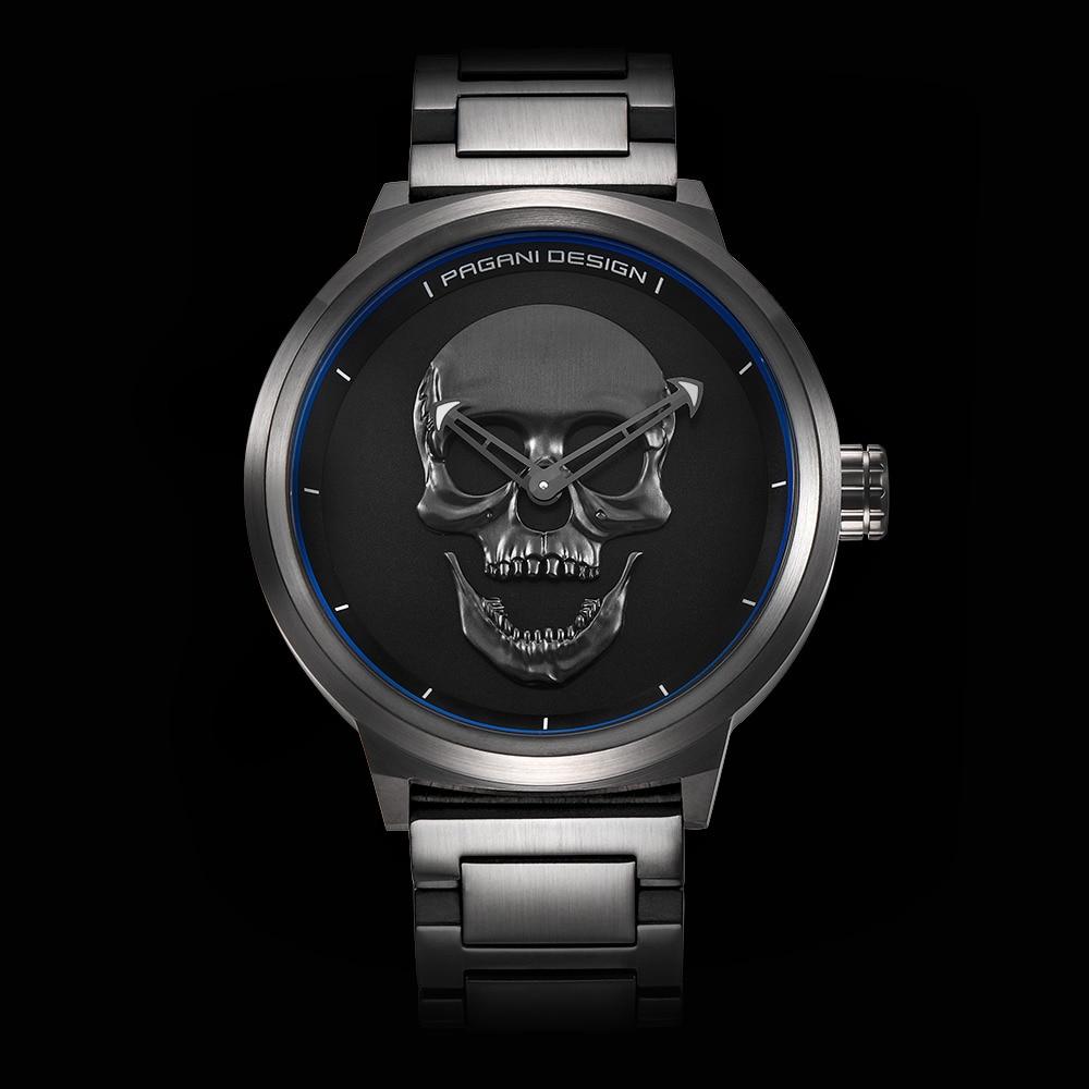 Punk 3D Skull Unique PAGANI DESIGN Watches Male Retro Fashion Sports Quartz Military Steel Wrist Watch Men relogio masculino
