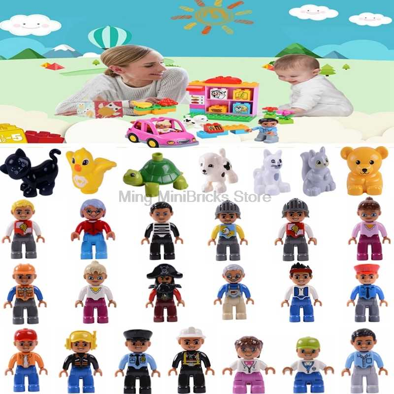 Legoing Figures Duplo Community Mom Dad Kids Prisoner Building Blocks Toys for Children Compatible with Legoings Friends Figure