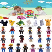 Legoing Figures Duplo Community Mom Dad Kids Grand pa Building Blocks Toys for Children Compatible with Legoings Duplo Baby Gift(China)