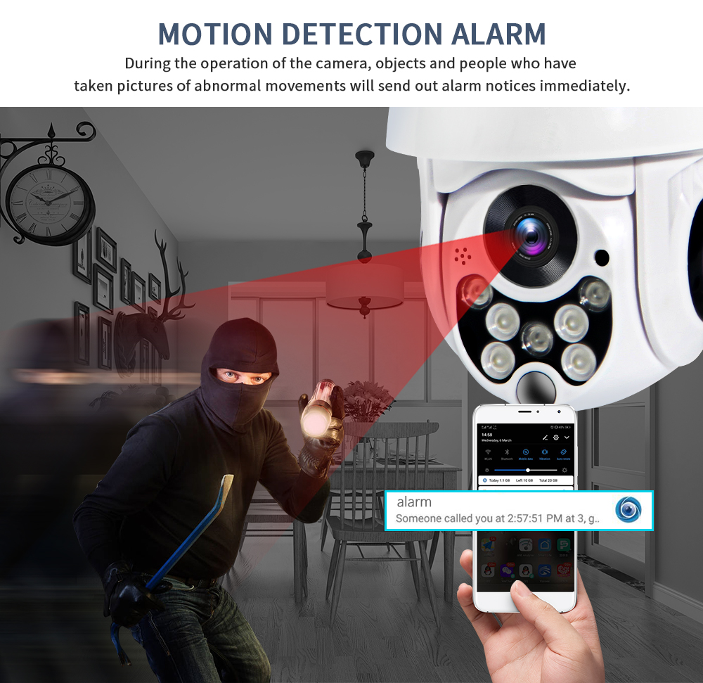 Image 5 - SECTEC 1080P PTZ IP Camera Auto Tracking Speed Dome WiFi Wireless CCTV Camera Outdoor Security Surveillance Waterproof Camera-in Surveillance Cameras from Security & Protection