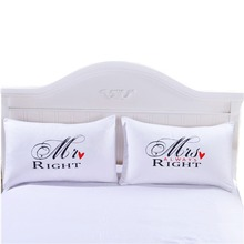 4 Styles Romantic Mr Mrs Pillow Case White Couple King Queen I Love You Pillowcase Pillow Cover Wedding Valentine's Gift