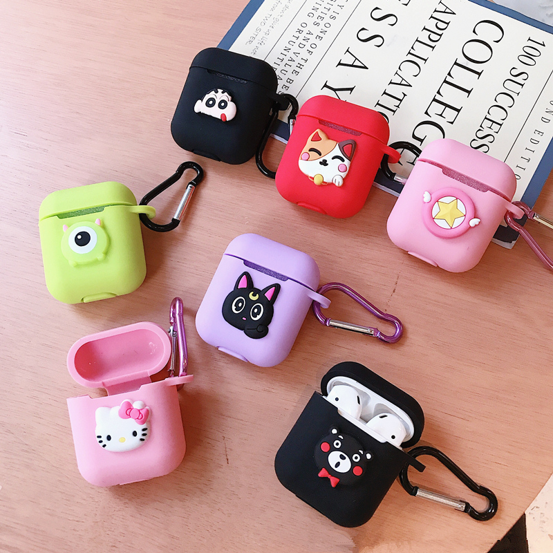 Hello Kitty Melody Mickey Minnie Sesame Street Egg Pattern Silicone Case For Apple Airpods Bluetooth Earphone Bag Cover-in Earphone Accessories from Consumer Electronics