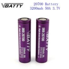 1-7pcs/lot Hot sell Vbatty 20700 battery 3200mah 50A 3.7V li-ion rechargeable high drain 50A 20700 battery Very cheap