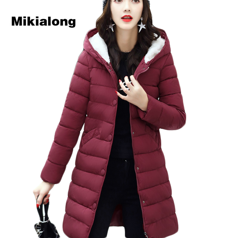Mikialong 2017 Plus Size Women Winter Long Jacket Hooded Cotton Padded Women Parkas Mujer Fleece Thick Outwear Warm Coat Female lx pack brand lowest factory price cup filling
