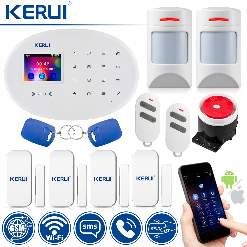 WiFi GSM Security Alarm System Wireless Home Security Burglar Alarm System Compatible with Anti-pet Motion Detecor
