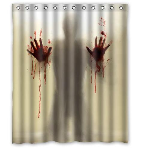 High Quality New Arrival Walking Dead Creepy Bloody Hands Custom Shower Curtain  Halloween Gift 60 X 72 Inch