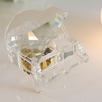 18 note Clear crystal piano music box crystal music piano wind up music box luxury gifts for lovers