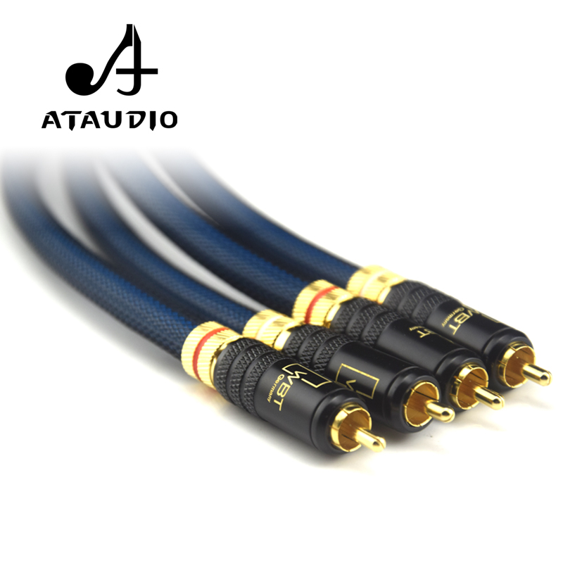 ATAUDIO 1 Pair Rca Cable G5 Top Grade Silver Plated RCA Male To Male Cable