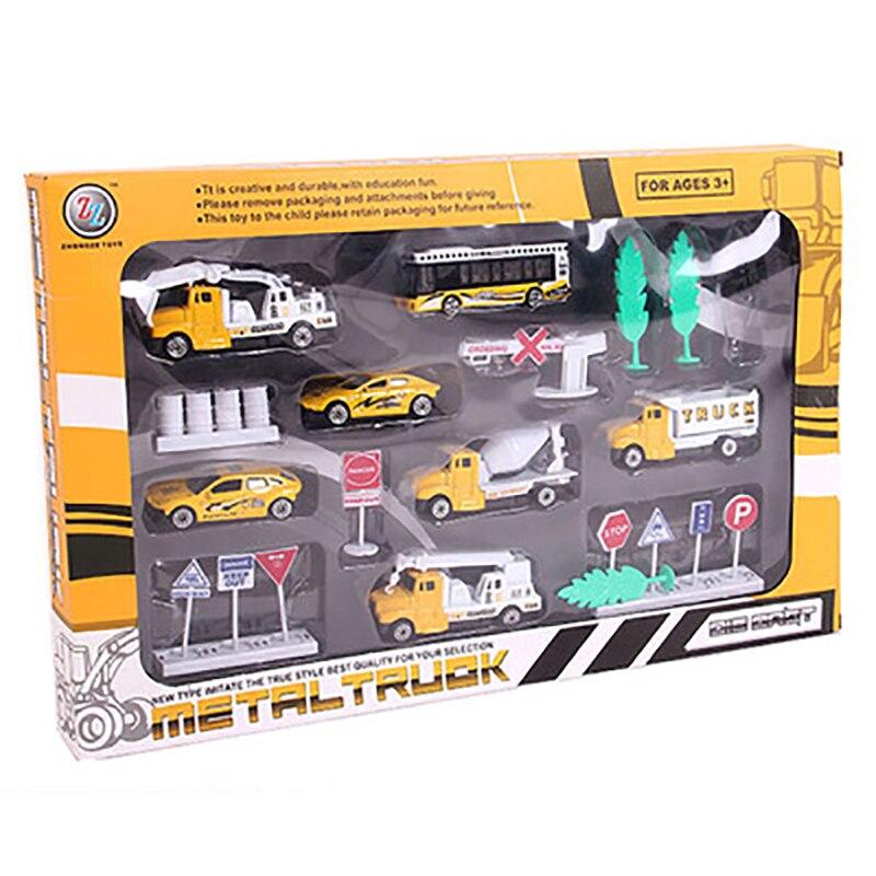 6Pcs Set Diecast 8Cm  Alloy Toy Car Model Truck Autorama Brinquedo Construction Vehicle/Buses Toy Gift For Boy Children