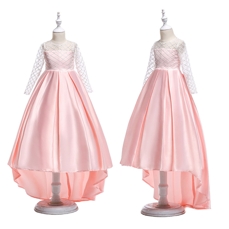 First communion dresses for girls Princess Wedding Birthay Party Satin organza long Tailling Dress reine des neiges 10 12 14 Yrs