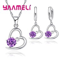 Hot 925 Sterling Silver Bridal Wedding Jewelry Set For Women Heart CZ Crystal Engagement Necklaces Earring Accessory(China)