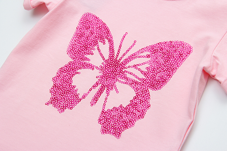 Fashion T shirts For Girls Summer Short Sleeve Kinds Tops Tee Pink Butterfly Printed Baby Girls T shirts Childrens Clothes 1-6Y