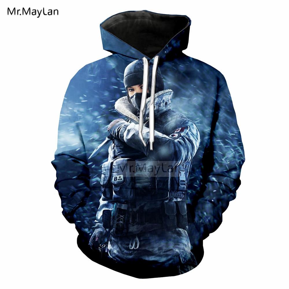 Jeu de tir arc-en-ciel Six siège 3D sweat à capuche imprimé hommes/femmes Hiphop Streetwear capuche Sweatshirts garçons bleu hauts vêtements survêtements
