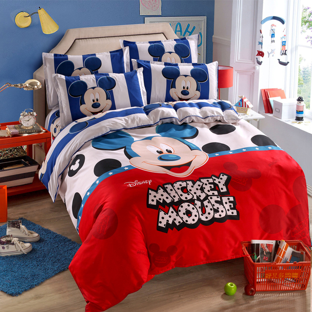 US $24.99 30% OFF|Disney Mickey Mouse Minnie Mouse Winnie Duvet Cover Set 3  or 4 Pieces Twin Single Size Bedding Set for Children Bedroom Decor-in ...
