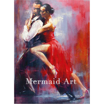 Handmade Canvas Man Abstract Woman Modern Tango Dancing Couple Oil Paintings