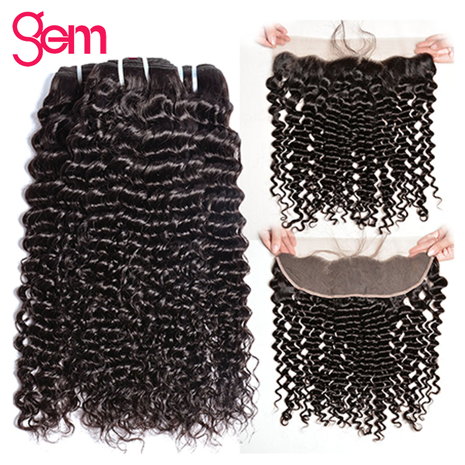 Brazilian Curly Hair With Frontal Closure Human Hair Weave Bundles With Lace Frontal 13 4 Gem