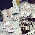 Sexemara 2016 de moda de verano zapatos de tacón alto de las mujeres decoración de metal tacones delgados punta abierta sandalias de tacón alto B