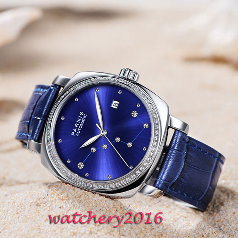 Image 3 - Luxury Brand 39mm Parnis Blue Dial Sapphire Glass ladies Date Leather strap women's Automatic Movement men's Watch-in Mechanical Watches from Watches