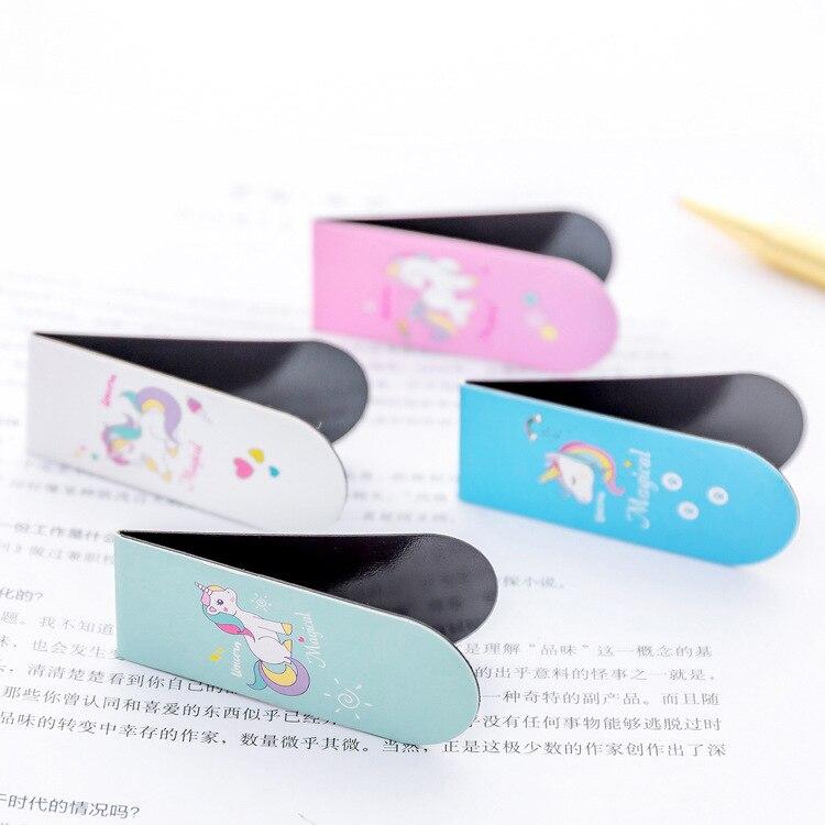 4 шт./лот милые кавайные мультяшные животные единорог магнитные закладки для школьных учебников принадлежности скрепки кавайные канцелярские принадлежности для детей подарок