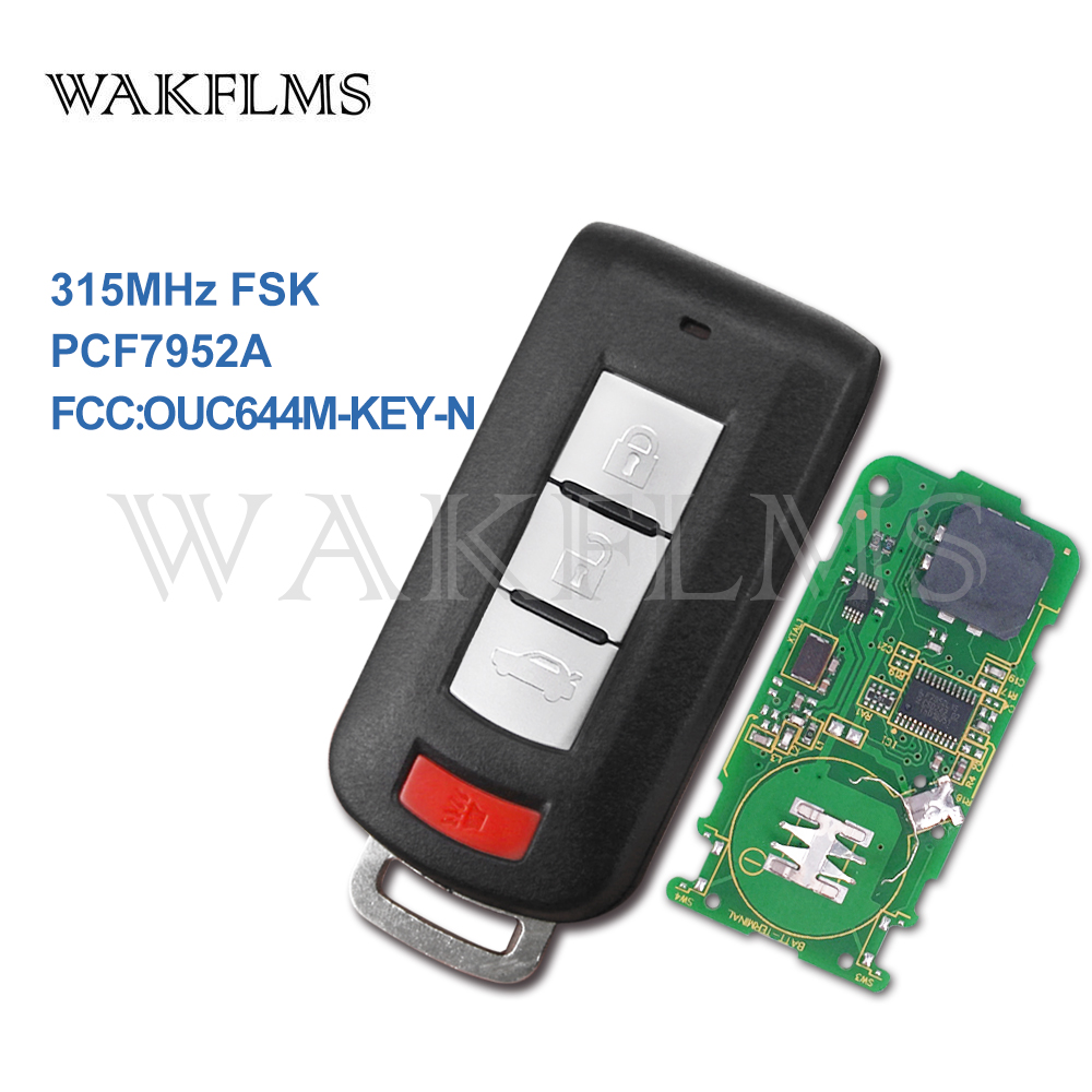 4btns Smart keyless go entry Remote Car Key for Mitsubishi Lancer Outlander Galant 315MHz PCF7952A chip OUC644M KEY N No Mark-in Car Key from Automobiles & Motorcycles    1