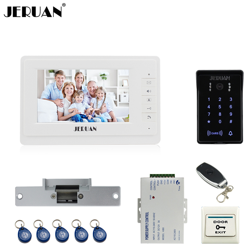 JERUAN 7`` Color LCD video doorphone intercom system Kit brang New RFID waterproof Touch Key password keypad Camera Cathode lock jeruan wired 7 touch key video doorphone intercom system kit waterproof touch key password keypad camera 180kg magnetic lock