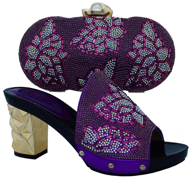 Mujeres Conjunto púrpura Rhinestone Bolsa amarillo Italia De Zapatos Italianos Y La naranja Con Rojo Azul Para Nigeriano rojo Boda Decorado Color wqSXUWvxR