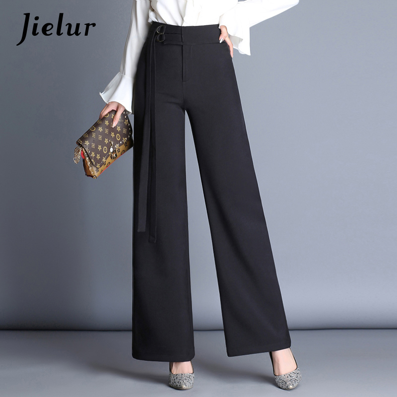 Jielur Black High Waist   Wide     Leg     Pants   Female Autumn New Loose Straight Trousers for Women Fake Sashes Office Lady Formal   Pants