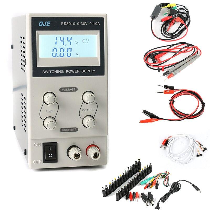 QJE MINI numérique réglable laboratoire DC alimentation AC DC Jack 30 V 10A pour ordinateur portable professionnel réparation de téléphone portable