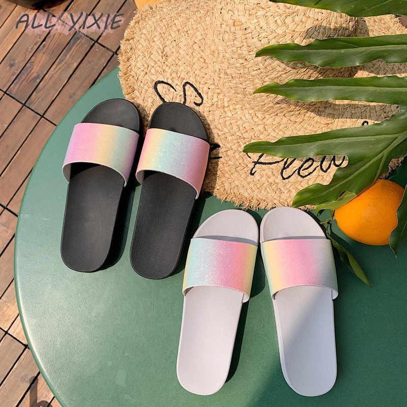 TẤT CẢ YIXIE2019 Mùa Hè Nữ Thời Trang Mới Giày Dép Giày Cầu Vồng Kim Sa Lấp Lánh P Phẳng Dép Kỳ Nghỉ Đi Biển cho Dép