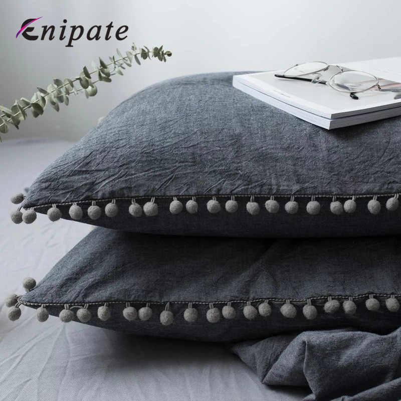 Enipate 1 PC Solid Cotton Pillowcase Ins Super Soft Pompom Pillow Cover Home Bedding Wedding Gift Design Pillow Case For Couple