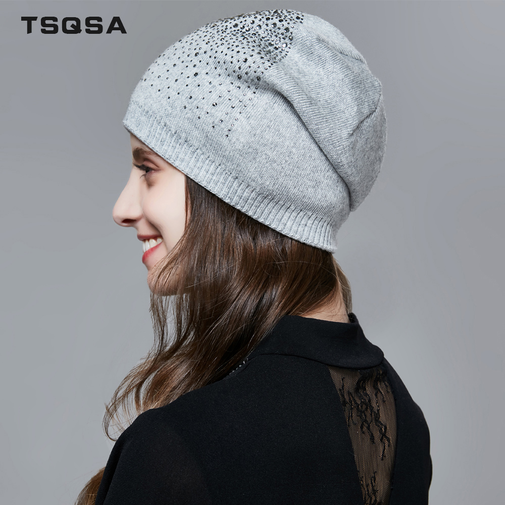 TSQSA Fashion Hats Autuman Winter For Womans 2019 New Rabbit Hair And Cotton Knitted Ladies Caps