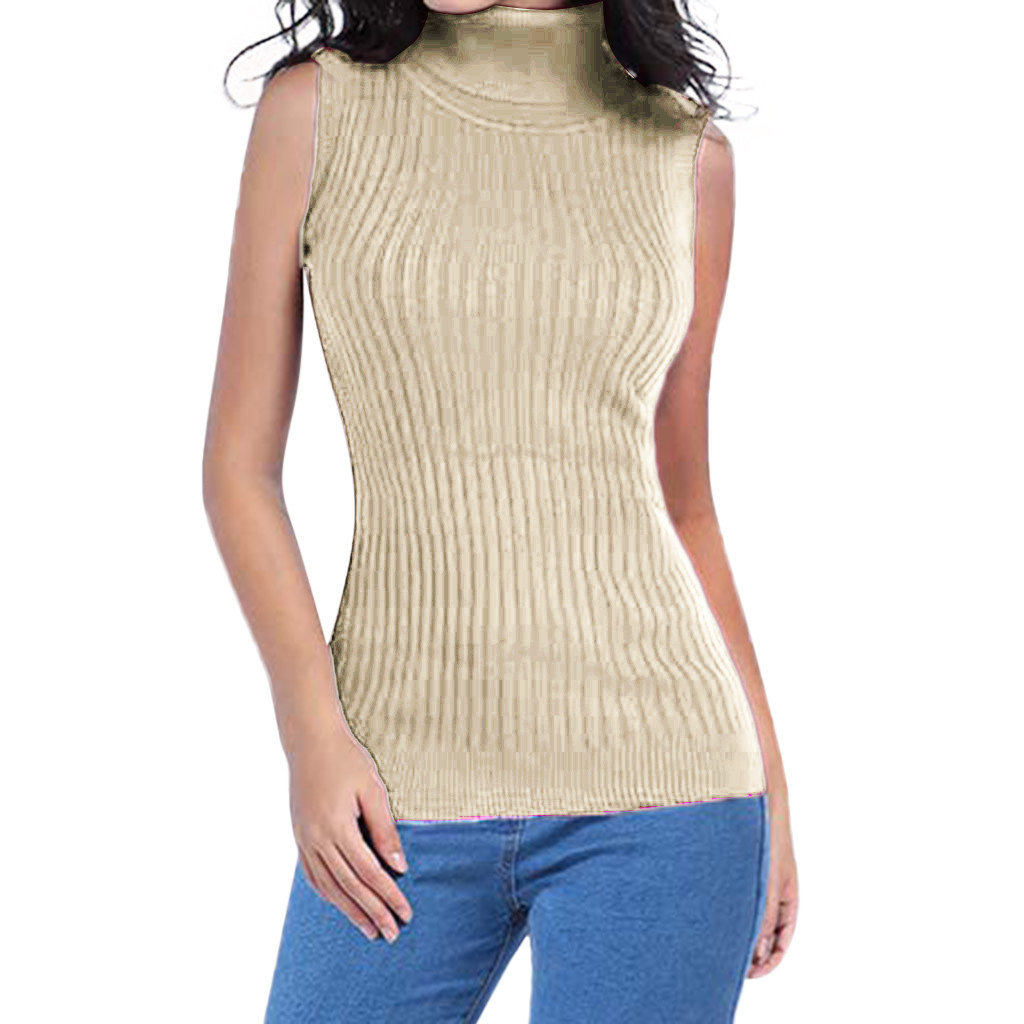 New Fashion Women's Casual Solid Color Matching Sleeveless Turtleneck Slim Sweater Pullover Ladies Sweater кофта женская Z4