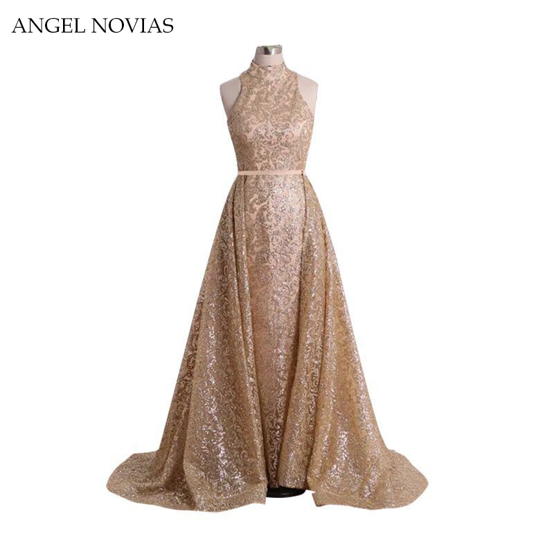 ANGEL NOVIAS Stunning Arabic Long Glitter   Evening     Dresses   High Neck A Line Vestido Longo Floor Length Prom Formal Gowns