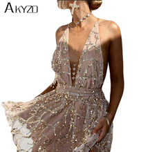 AKYZO Fashion Backless Deep V Sequin Dress 2017 Summer High Quality Plain Condole Belt Tassel Sexy Party Dresses Plus Size