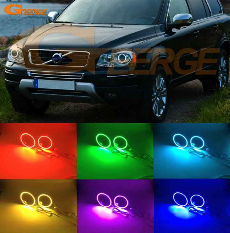 For Volvo XC90 2010 2011 2012 2013 xenon headlight Excellent Angel Eyes Multi-Color Ultra bright RGB LED Angel Eyes kit for toyota prius 2010 2011 2012 2013 excellent angel eyes kit multi color ultrabright 7 colors rgb led angel eyes halo ring