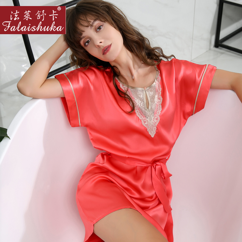 Woman100% Silk Stain SleepShirt   Nightgowns   Summer Spring 2019Women Home Sleepwear Homewears Night   Sleepshirts   with Sashes Female